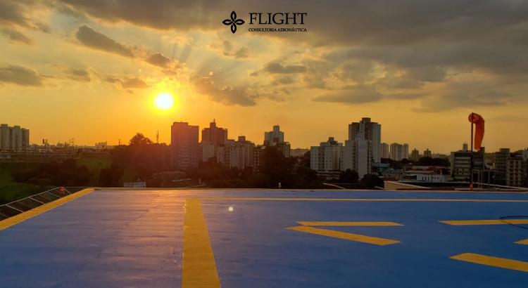 Heliponto do Shopping Iguatemi Campinas reformado pela Flight, com manutenção da pintura, iluminação e materiais de segurança.